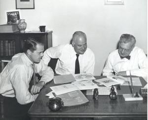 Jack Gauntlett (l), Will Burtin (c), A. Garrard Macleod (r)