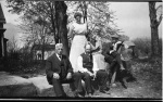 Henry Harrison Garrard (left),  George Duncan Macleod, Minnie Eliza Garrard (Macleod, George's wife), Mary Macleod (George's Sister) and A. Garrard Macleod
